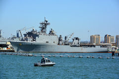 USS Harpers Ferry. SAN DIEGO CA USA APRIL 09 2015: USS Harpers Ferry (LSD-49) is the lead ship of her class of landing ship dock of the US Navy. This warship was Stock Photos