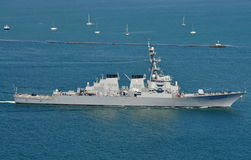 The USS Higgins (DDG 76). The USS Higgins (an Arleigh Burke-class destroyer royalty free stock photos