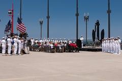 USS Illinois que nomeia a cerimónia no cais da marinha Imagens de Stock Royalty Free