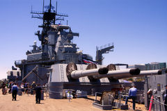 USS Iowa Famous United States Battleship. Sixteen inch guns on the stern of the USS Iowa, a historic World War Two United States battleship. The Iowa was stock image