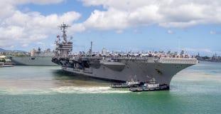 USS John C Stennis il 5 agosto 2016 in Pearl Harbor Fotografie Stock
