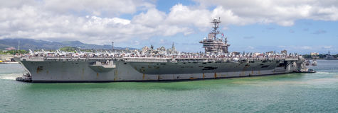 USS Juan C Stennis el 5 de agosto de 2016 en Pearl Harbor Fotografía de archivo libre de regalías