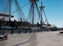USS konstitution som ses i torr skeppsdocka i Boston, MOR, USA fotografering för bildbyråer