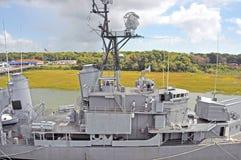 USS Laffey: Brücke und Vorwärtsgewehrdrehkopf Stockfotos