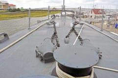 USS Laffey: Kotwicowi Winches Zdjęcia Royalty Free