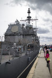 USS Lake Champlain moored at Lonsdale Quay Royalty Free Stock Photography