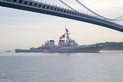 USS McFaul guided missile destroyer of the United States Navy during parade of ships at Fleet Week 2014. NEW YORK - MAY 21 USS McFaul guided missile destroyer of royalty free stock images