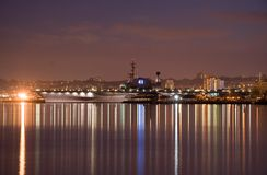 USS Midway. A night image of the USS Midway which is now a museum in San Diego stock images