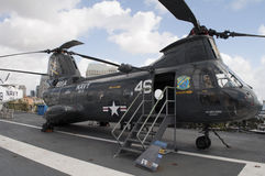 USS Midway. An image of a Chinook helicopter on the USS Midway in San Diego California stock photos