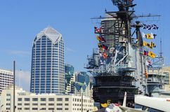 USS Midway Museum, San Diego. The historic aircraft carrier, USS Midway Museum moored in Broadway Pier in Downtown San Diego, Southern California, United States royalty free stock photo