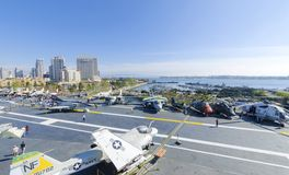 USS Midway Museum, San Diego. The historic aircraft carrier, USS Midway Museum moored in Broadway Pier in Downtown San Diego, Southern California, United States stock photos