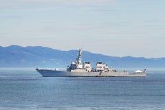 USS Milius au point d'attache Image libre de droits