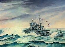 USS Mississippi su Atlantico del Nord Fotografie Stock Libere da Diritti