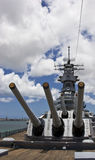 USS Missouri. Battleship USS Missouri also known as the Mighty Mo. The Japanese signed a surrender agreement ending world war II on the decks of this ship Stock Image