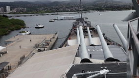 USS Missouri and Arizona. HONOLULU, OAHU, HAWAII, USA - AUGUST 21, 2016: Big top cannons of USS Missouri BB-63 warship and USS Arizona BB 39 Memorial at Pearl stock footage