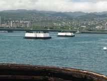 USS Missouri Armatniej wieżyczki widok obraz stock