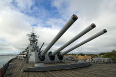 USS Missouri Battleship at Pearl Harbor in Hawaii Royalty Free Stock Photo
