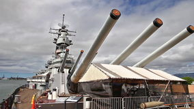 USS Missouri BB-63. HONOLULU, OAHU, HAWAII, UNITED STATES - AUGUST 21, 2016:canons of USS Missouri BB-63 warship at Pearl Harbor. Commissioned in June 1944 and stock video footage