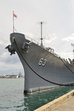 USS Missouri front view. The USS Missouri, the site of the treaty signing that ended WWII between the US and Japan, is now decommissioned and berthed in Pearl Stock Photo