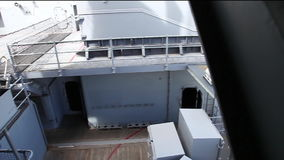 USS Missouri memorial. HONOLULU, OAHU, HAWAII, USA - AUGUST 21, 2016: aerial view of the memorial site of USS Missouri BB-63 battleship at Pearl Harbor base stock video footage