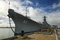 USS Missouri pancernik przy pearl harbour w Hawaje obrazy royalty free