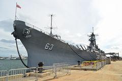 USS Missouri, US Navy. The USS Missouri, the site of the treaty signing that ended WWII between the US and Japan, is now decommissioned and berthed in Pearl royalty free stock photos