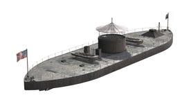 USS Monitor - sträng krigsskepp för inbördeskrigera Arkivfoton