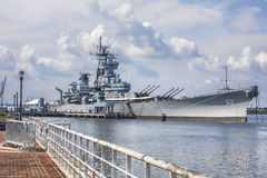 USS New Jersey BB-62 Battleship. The USS New Jersey BB-62 Battleship is retired at the Ulysses Wiggins Waterfront park in Camden, NJ and tours are offered to royalty free stock photo