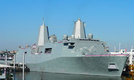 USS New York LPD-21 docked in Manhattan for ship commissioning. Royalty Free Stock Images