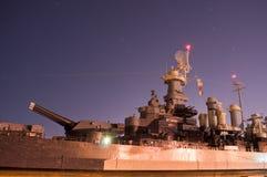 USS North Carolina arsenal at night. USS North Carolina in Wilmington, NC stock photography