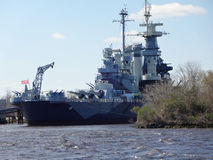 USS North Carolina Battleship in Wilmington, North Carolina Seaport. USS North Carolina Battleship in the seaport of Wilmington, North Carolina. The ship can be stock image