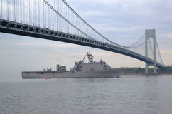 USS Oak Hill dock landing ship of the United States Navy during parade of ships at Fleet Week 2014. NEW YORK - MAY 21  USS Oak Hill dock landing ship of the Stock Photo