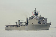USS Oak Hill dock landing ship of the United States Navy during parade of ships at Fleet Week 2014. NEW YORK - MAY 21: USS Oak Hill dock landing ship of the stock photo