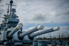 USS Pólnocna Karolina Aft pistolety fotografia royalty free