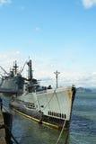 USS Pampanito一艘Balao班的柴油电动潜水艇赢得了二战服务的六个争斗星在渔人码头 库存图片