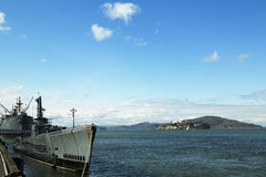 USS Pampanito,一艘Balao班的柴油电动潜水艇赢得了二战服务的六个争斗星 图库摄影