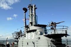 USS Pampanito,一艘Balao班的柴油电动潜水艇赢得了二战服务的六个争斗星 免版税库存照片