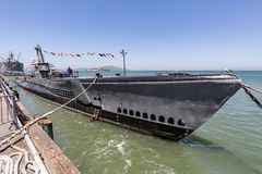 USS Pampanito, αμερικανικό υποβρύχιο στο Σαν Φρανσίσκο στοκ φωτογραφία με δικαίωμα ελεύθερης χρήσης