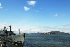 USS Pampanito, um submarino diesel-bonde da Balao-classe ganhou seis estrelas da batalha para o serviço da segunda guerra mundial Fotografia de Stock