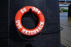 USS Razorback diesel submarine life ring Royalty Free Stock Photography