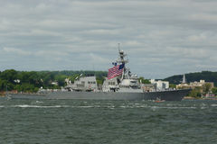 USS Stout guided missile destroyer of the United States Navy during parade of ships at Fleet Week 2015. NEW YORK - MAY 20, 2015: USS Stout guided missile stock photography