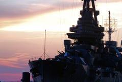 USS Texas Linienschiff am Sonnenuntergang Lizenzfreie Stockbilder