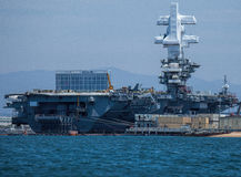 USS Theodore Roosevelt in San Diego Harbor Royalty Free Stock Photo