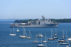 USS Tortuga (LSD-46) in Rockland Harbor, Maine Stock Photo