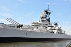USS Wisconsin Battleship, Norfolk. Naval artillery on USS Wisconsin Battleship (BB-64) in Norfolk, Virginia, USA stock photo