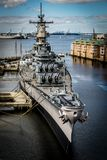 USS Wisconsin. Battleship in Norfolk, Virginia stock image