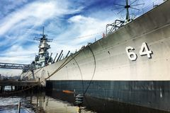 USS Wisconsin BB 64 Museum Ship. This is an old US Navy WWII battleship USS Wisconsin BB 64 that is now a museum ship in Norfolk, Virginia waterfront stock photography