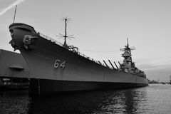USS Wisconsin i Norfolk, Virginia arkivbild
