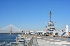 USS约克镇航空母舰在查尔斯顿,美国 库存照片