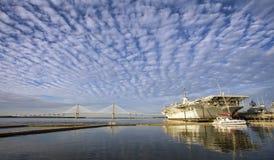 USS Yorktown and Arthur Ravenel Bridge, Charleston Royalty Free Stock Images